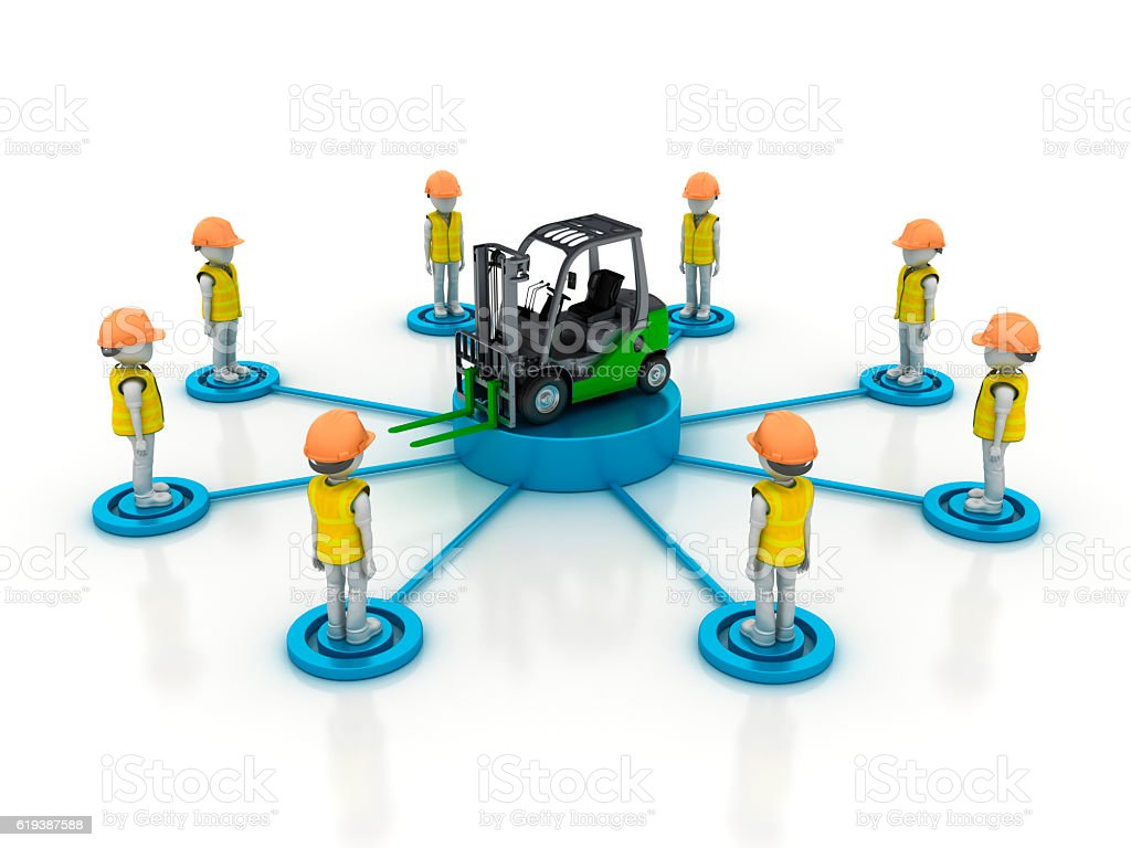Worker Characters Team with Forklift stock photo
