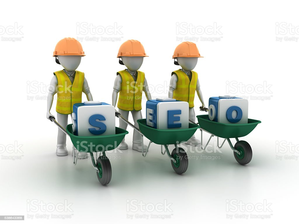 Worker Characters with Wheelbarrow and BLOG Blocks stock photo