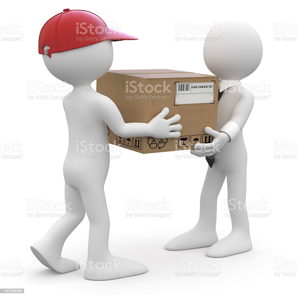 Worker delivering a package royalty-free stock photo