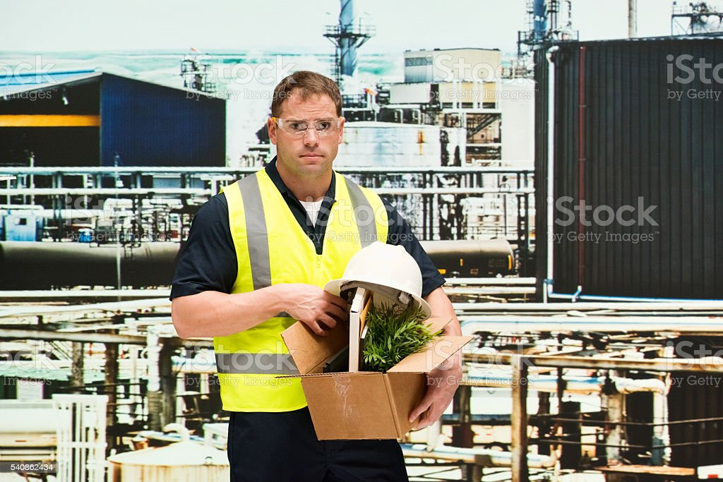 Worker fired from his job stock photo