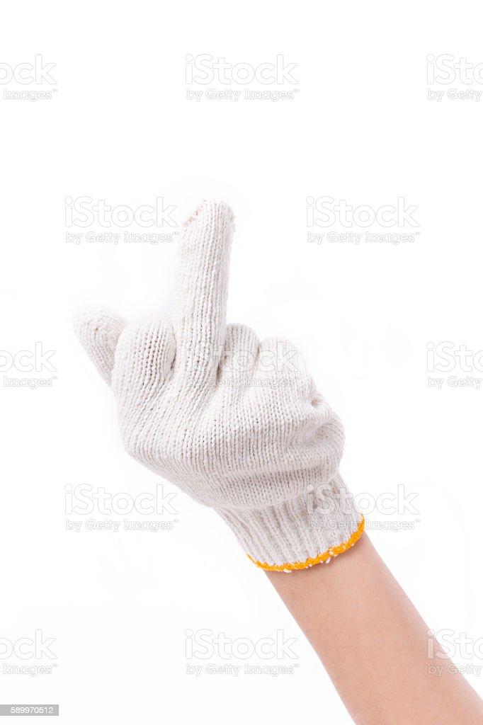worker hand showing middle finger stock photo