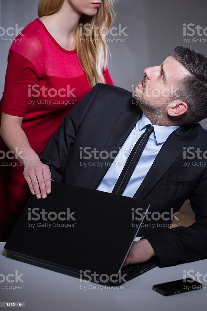 Worker harassed by female boss stock photo