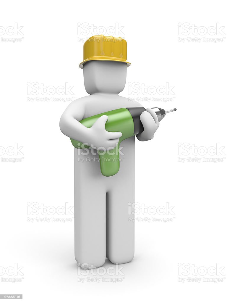 Worker hold a drill royalty-free stock photo