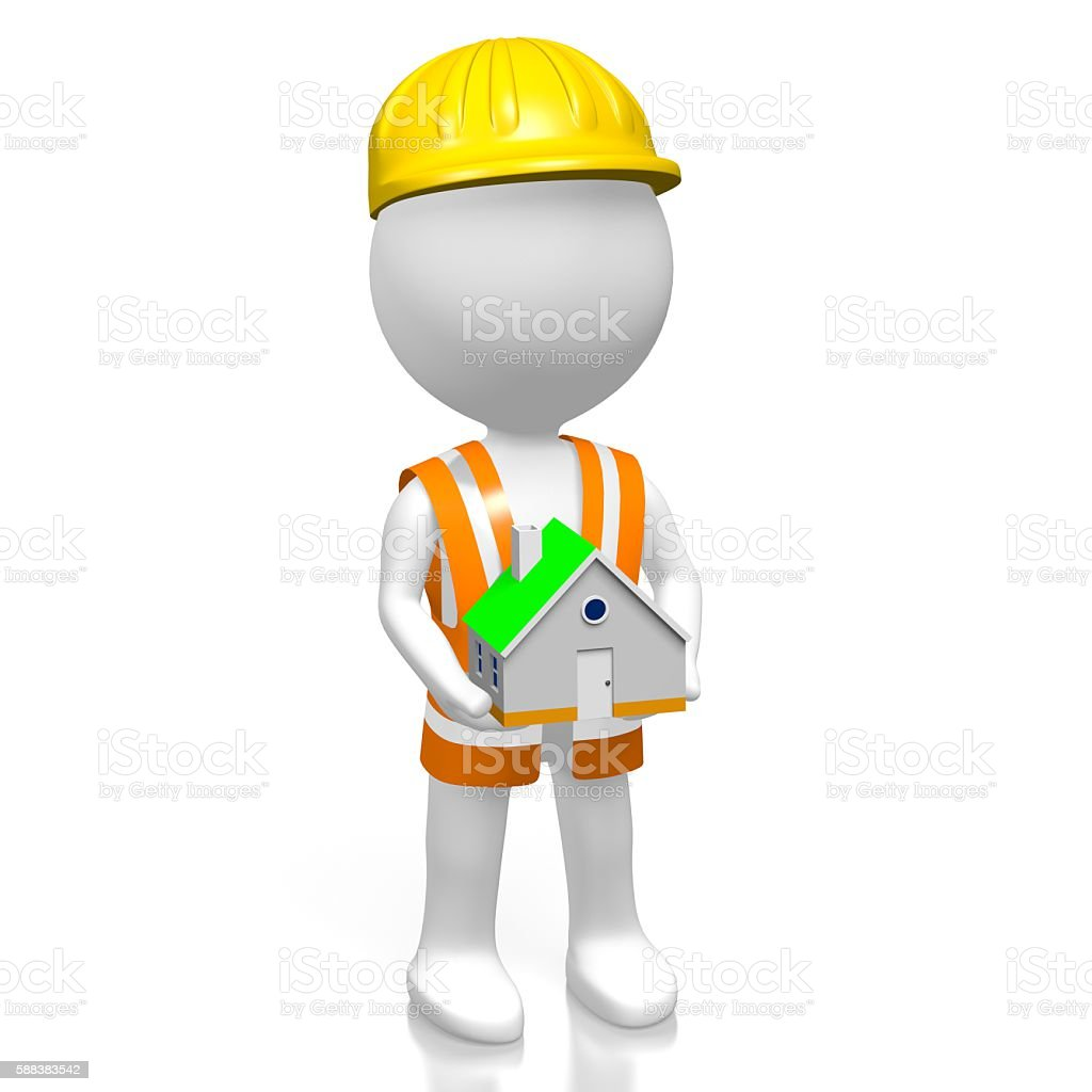 3D worker - house concept stock photo