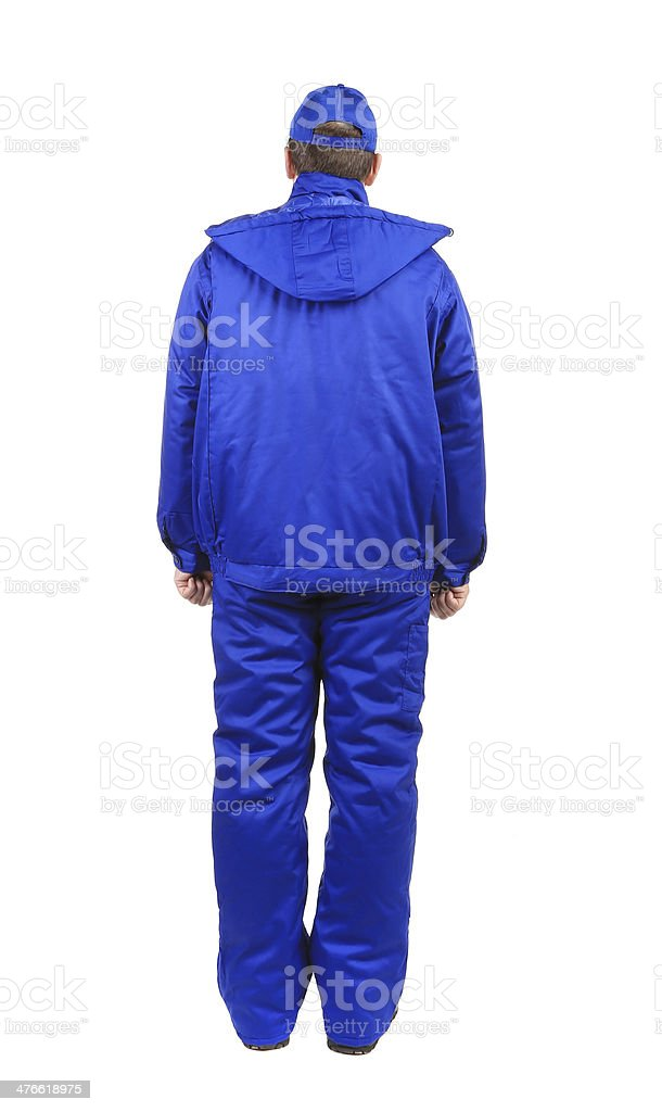 Worker in blue uniform. royalty-free stock photo