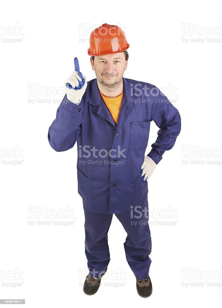 Worker in blue uniform show one. royalty-free stock photo