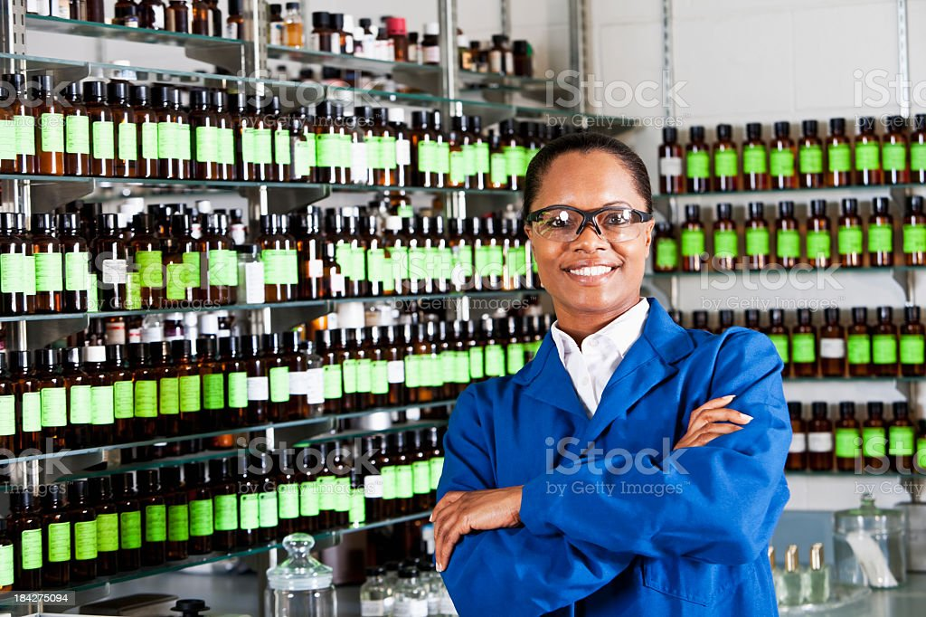 Worker in chemical plant supply lab royalty-free stock photo