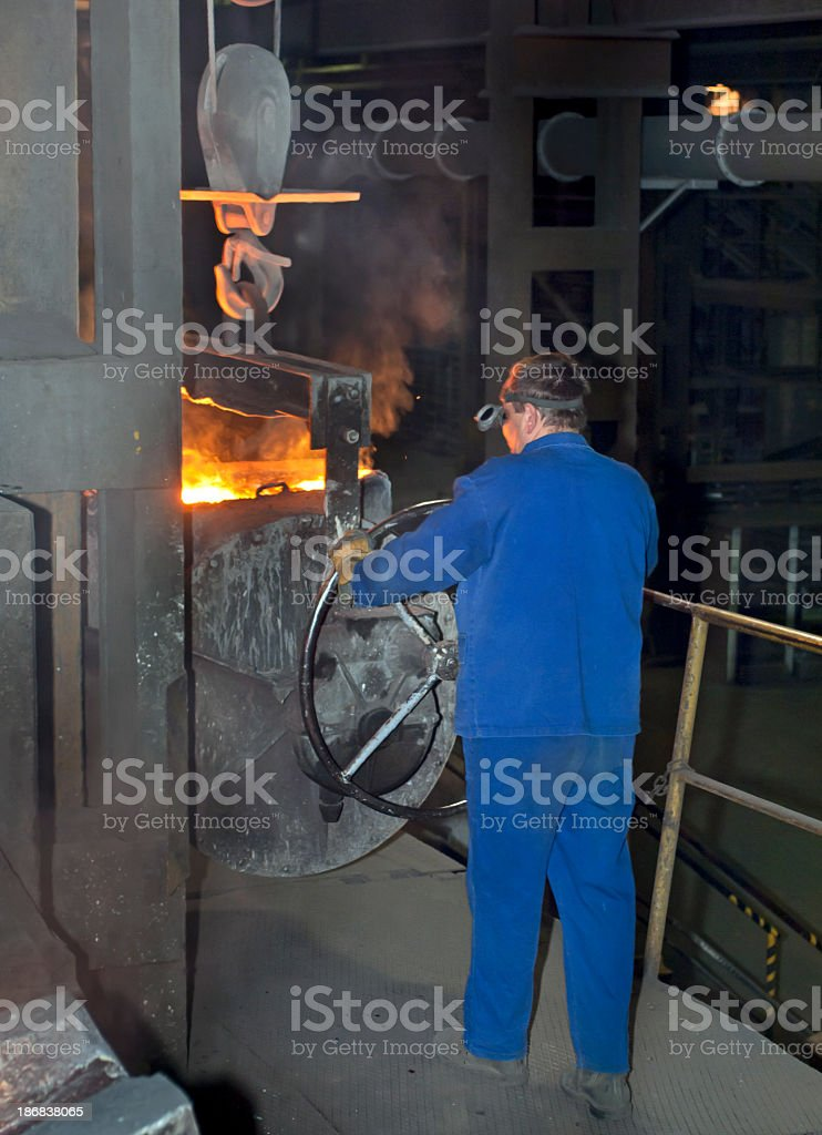 Worker in Iron Foundry royalty-free stock photo