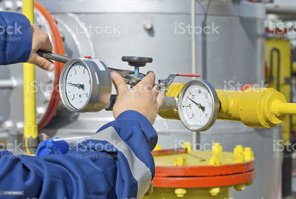 Worker in oil industry stock photo