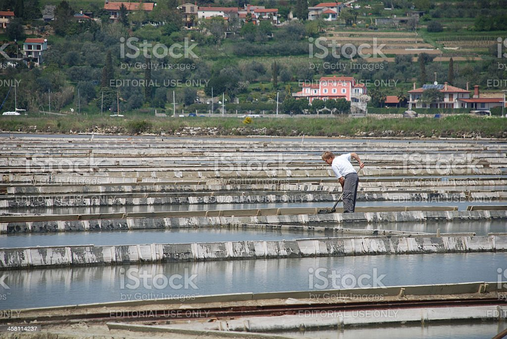 Worker in Salt Crystalization Field royalty-free stock photo