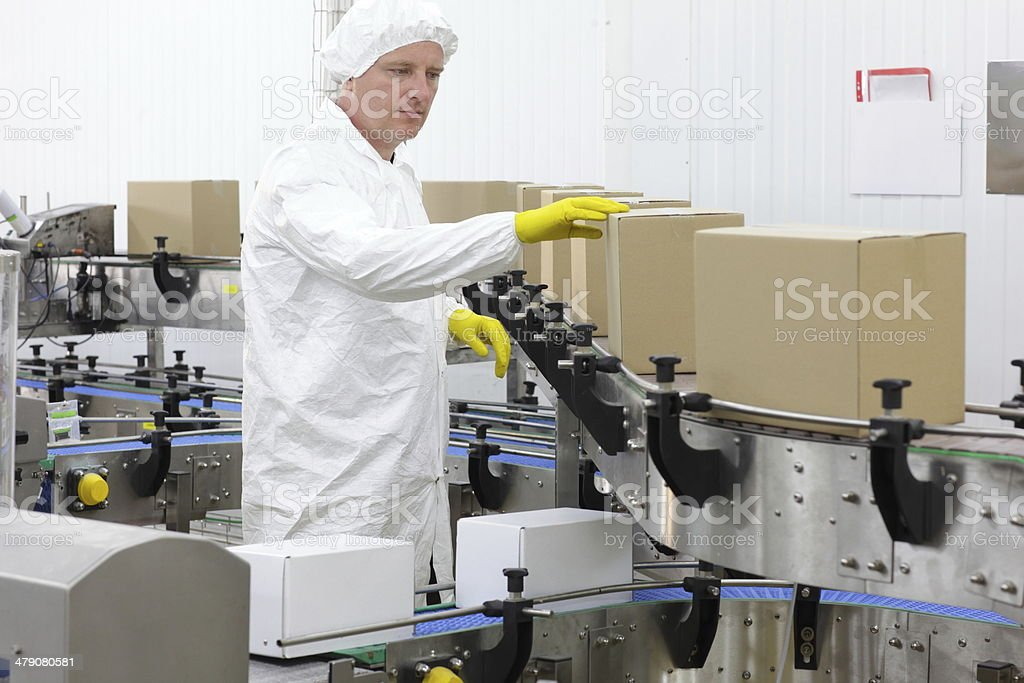 worker in white apron  at production line in factory stock photo