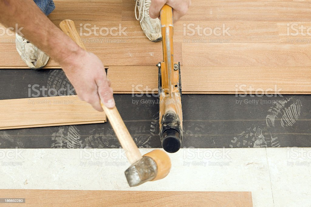 Worker Installing New Cumuru Hardwood Floor stock photo
