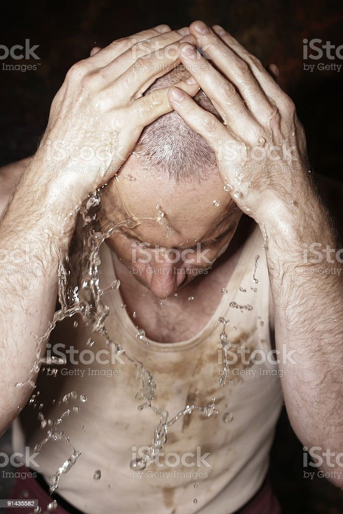 Worker is having a wash royalty-free stock photo