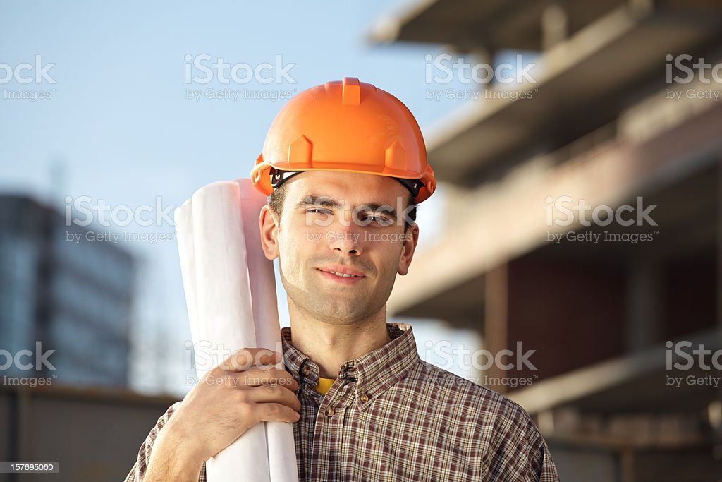 Worker is keeping drawings stock photo