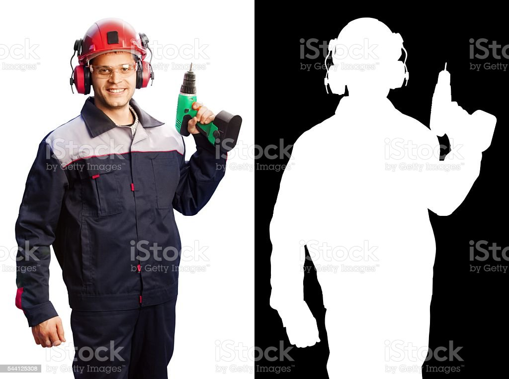Worker man isolated on white (with clipping mask) stock photo