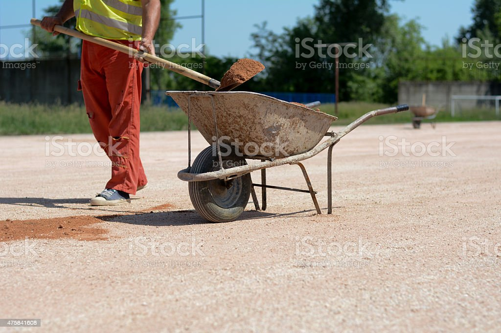 Worker on a construction site with a shovel stock photo