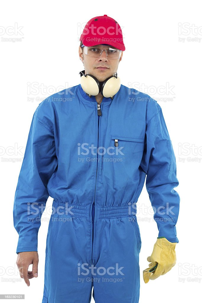 worker on a white background royalty-free stock photo