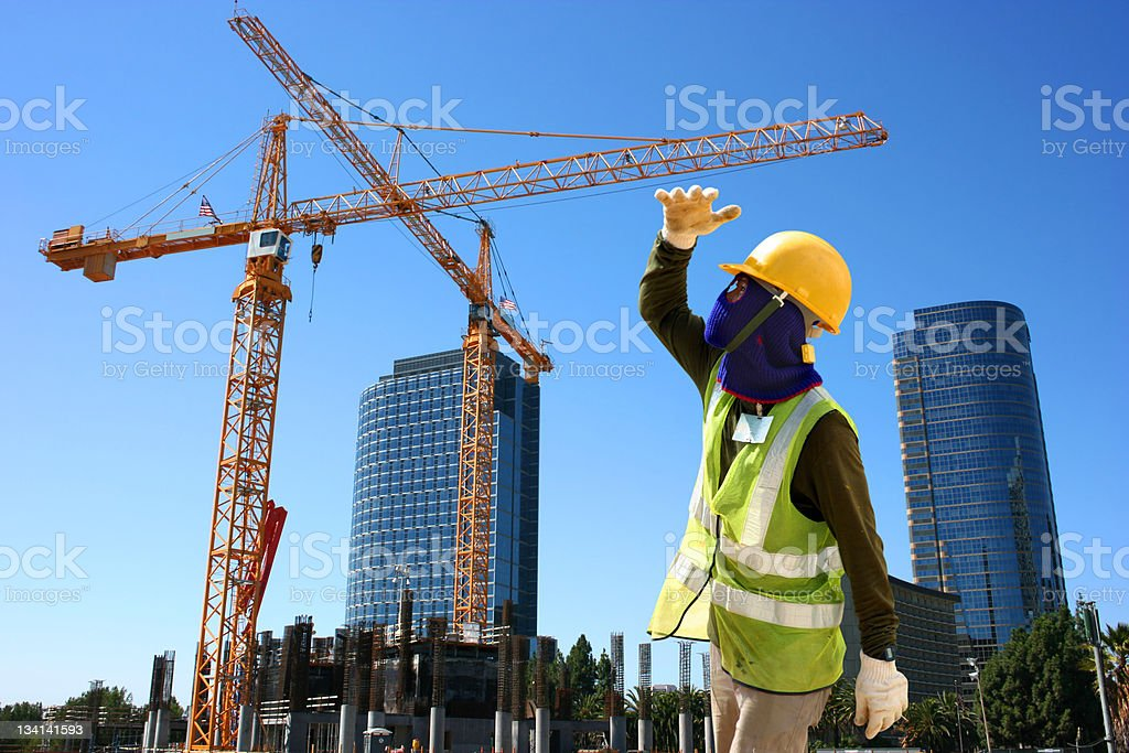 Worker on construction site royalty-free stock photo
