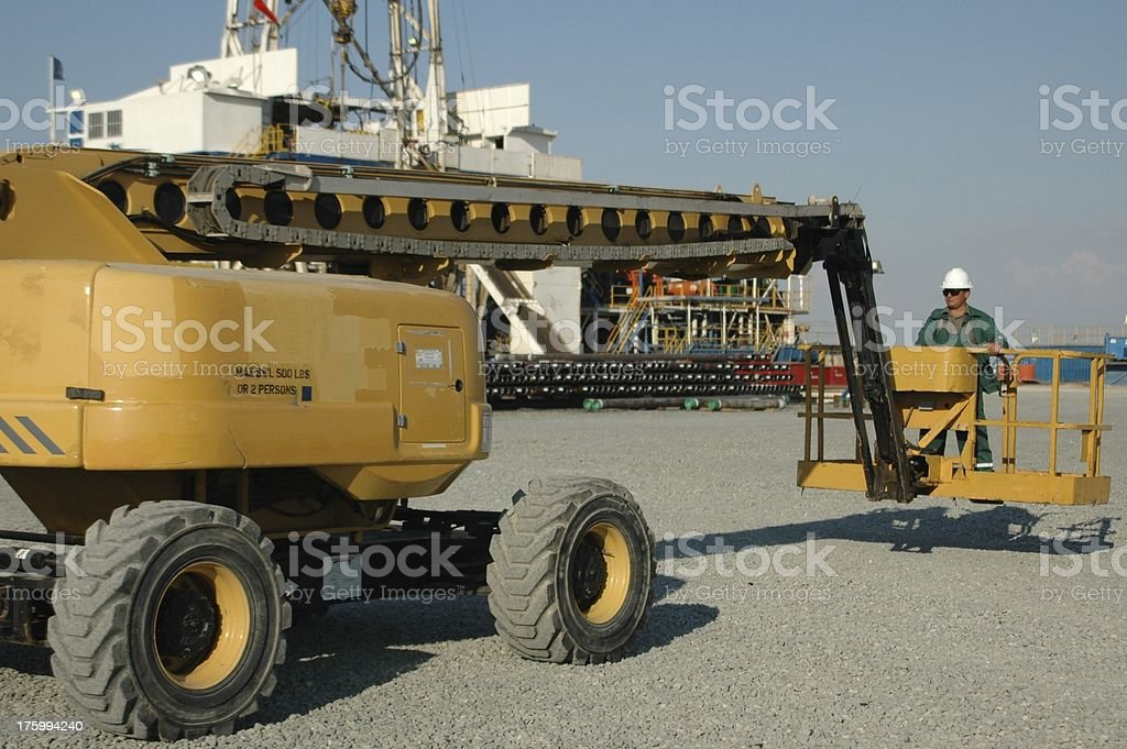 Worker operating a manlift stock photo