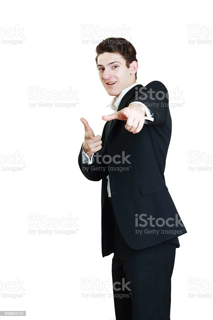 worker point his fingers stock photo