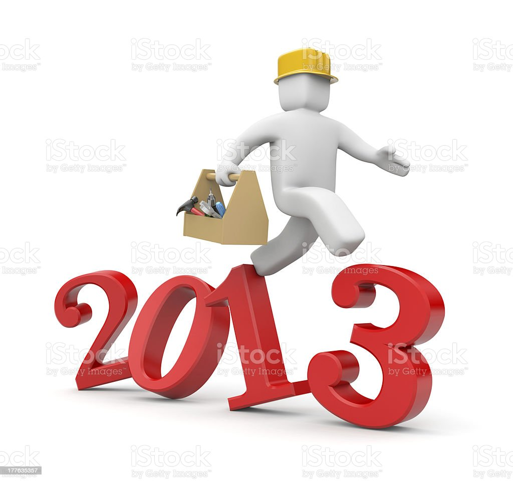 Worker run to new year royalty-free stock photo