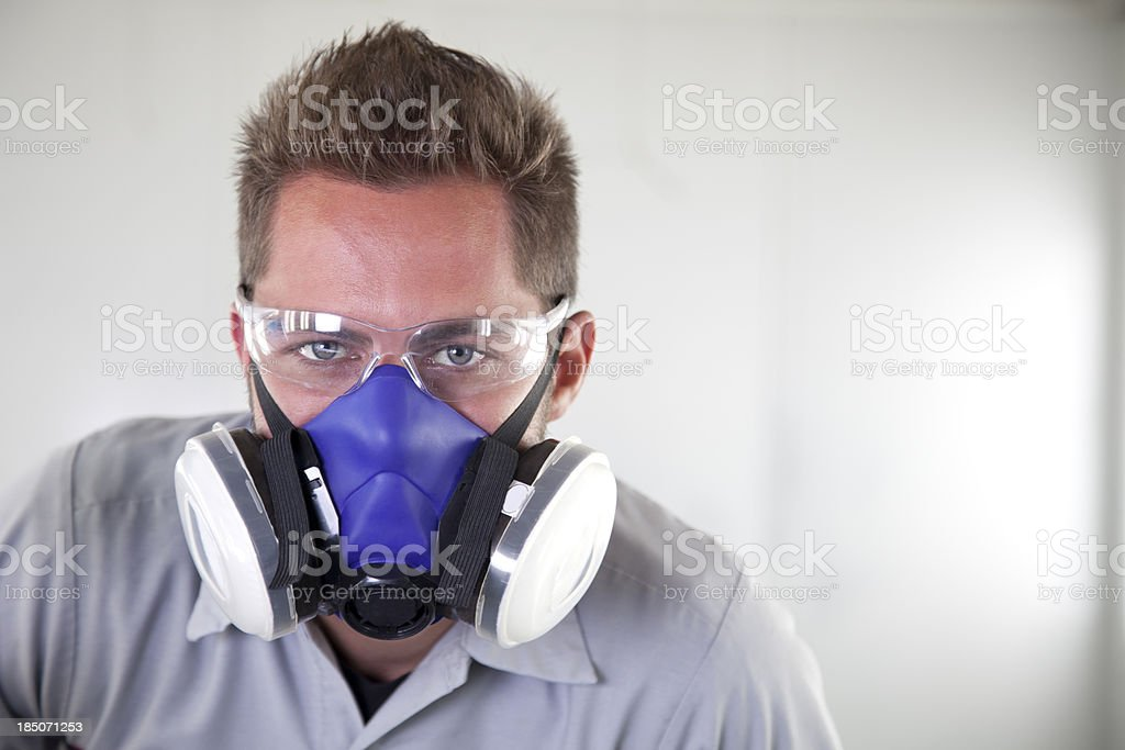 Worker Safety: Safety Goggles Face Mask stock photo