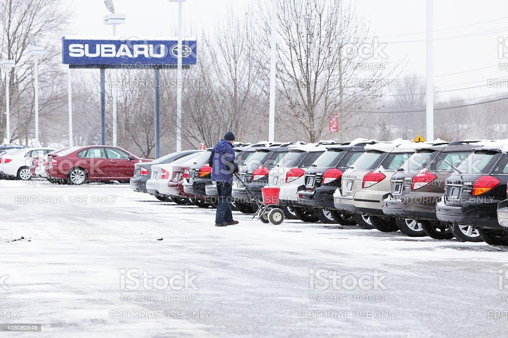 Worker Spreading Rock Salt in Subaru Car Dealership Parking Lot royalty-free stock photo