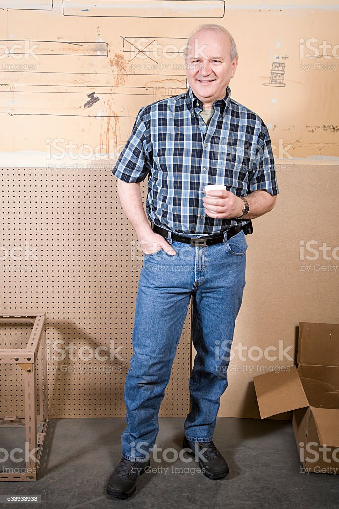 Worker taking a break stock photo