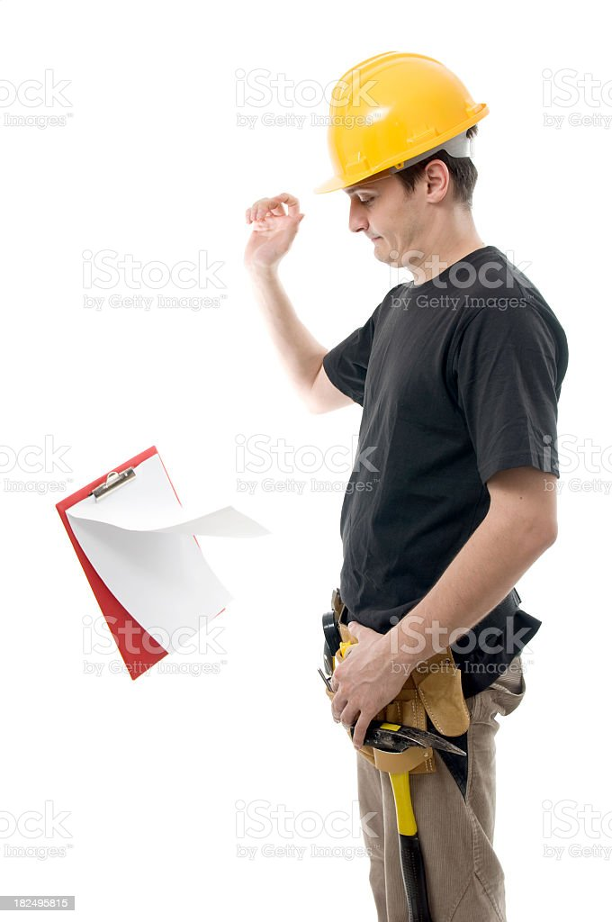 Worker throwing a clipboard isolated on white royalty-free stock photo