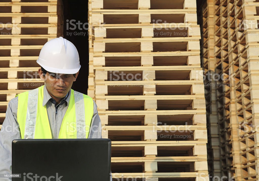 worker using laptop royalty-free stock photo