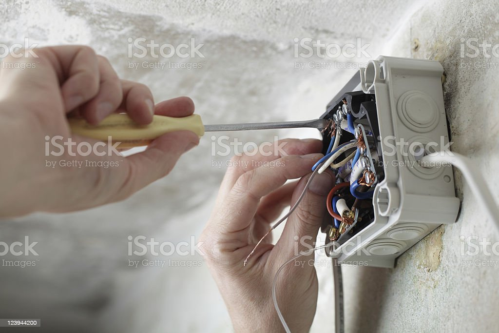 Worker using screwdriver to install electrical box stock photo