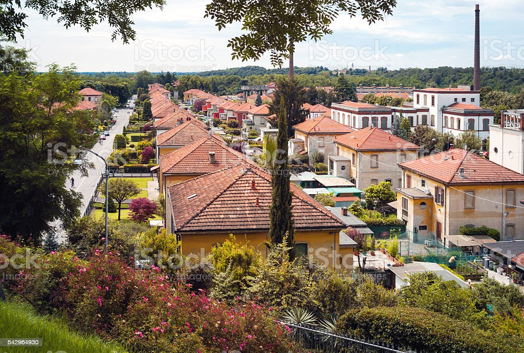 Worker village of Crespi d'Adda. Color image stock photo