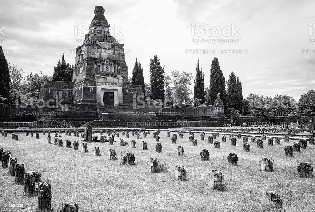 Worker village of Crespi d'Adda: graveyard. Black and white photo stock photo