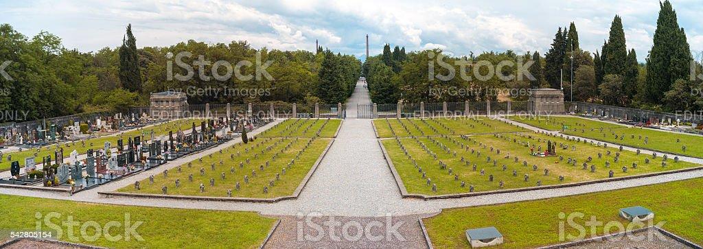 Worker village of Crespi d'Adda: graveyard panorama. Color image stock photo