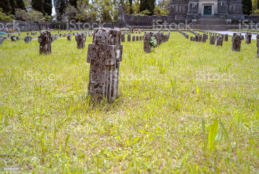 Worker village of Crespi d'Adda: graveyard tombs. Color image stock photo