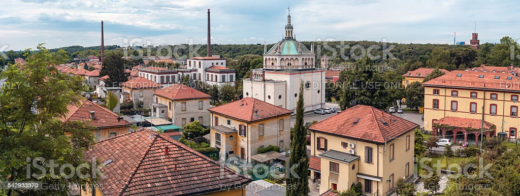 Worker village of Crespi d'Adda: wide view. Color image stock photo