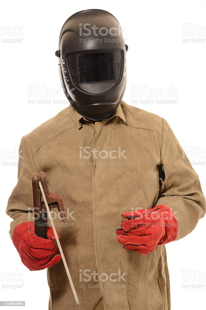 worker welder in a protective mask with  on isolated background stock photo