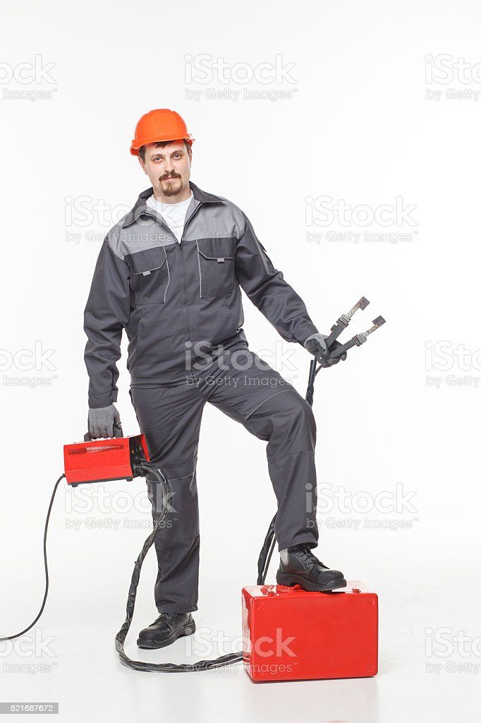 worker welder  welding machine stock photo