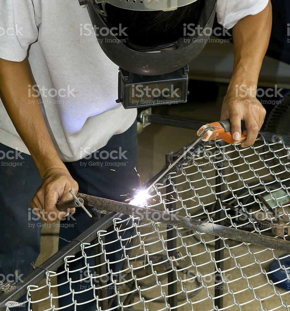 Worker welding steel royalty-free stock photo