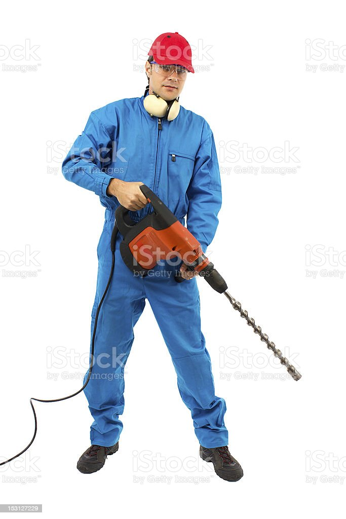 worker with a hammer drill on white background stock photo