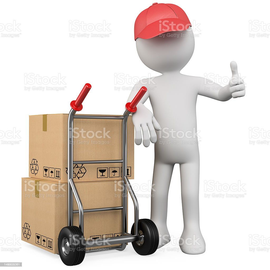 3D worker with a package and thumb up royalty-free stock photo