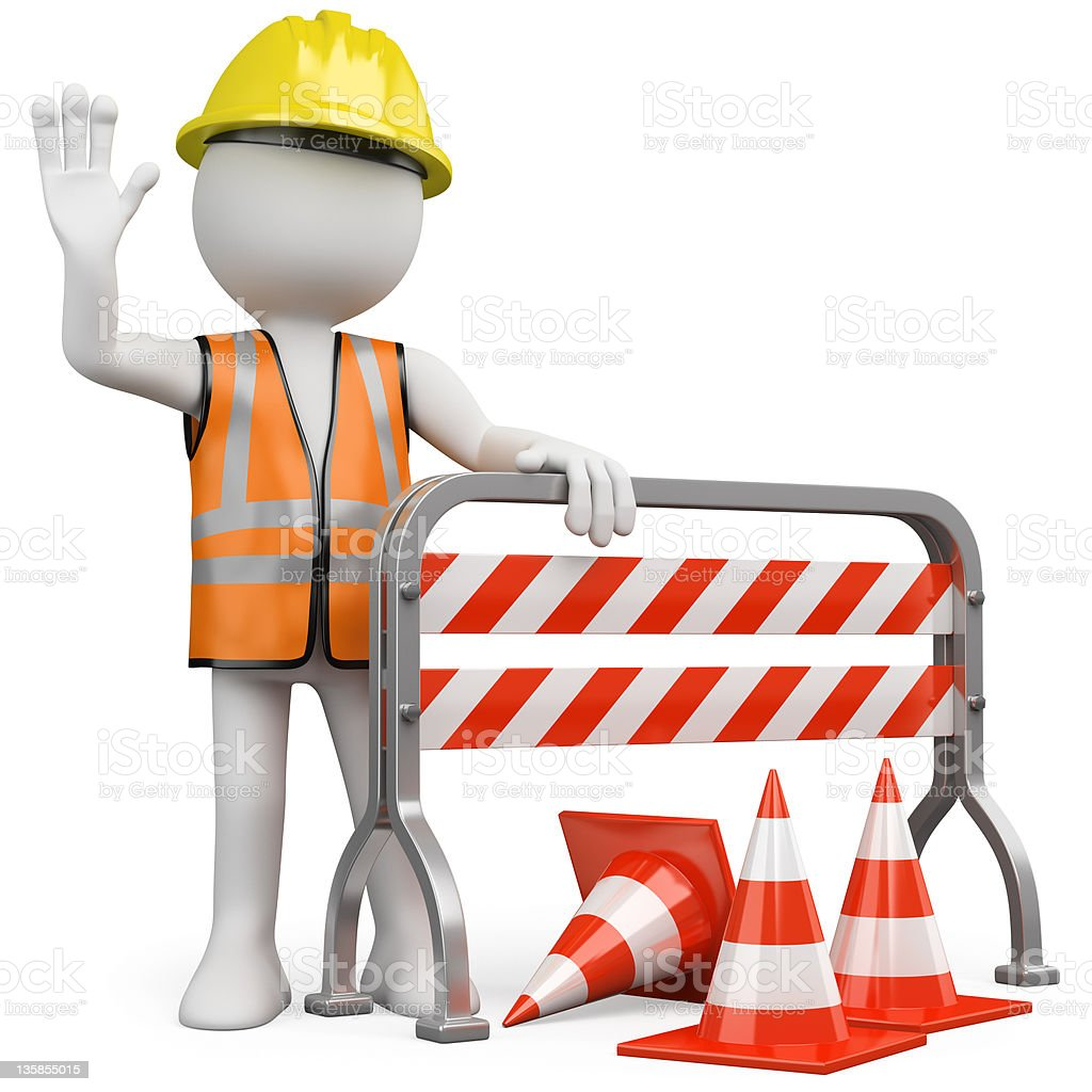Worker with a reflective vest and hard hat royalty-free stock photo