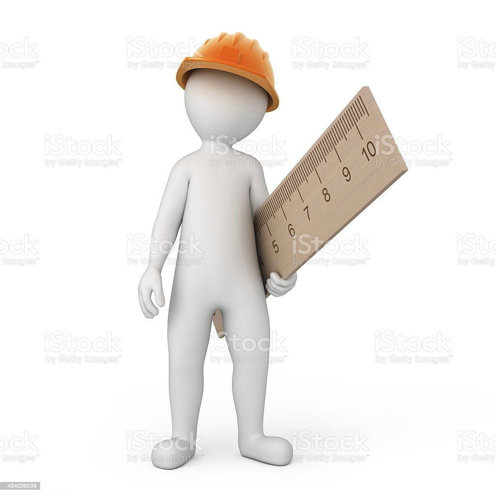 worker with a ruler stock photo