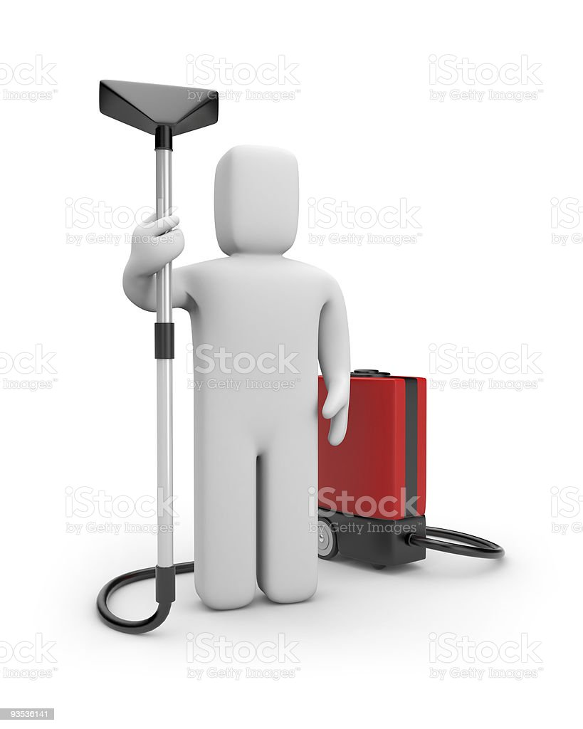 Worker with a vacuum cleaner royalty-free stock vector art