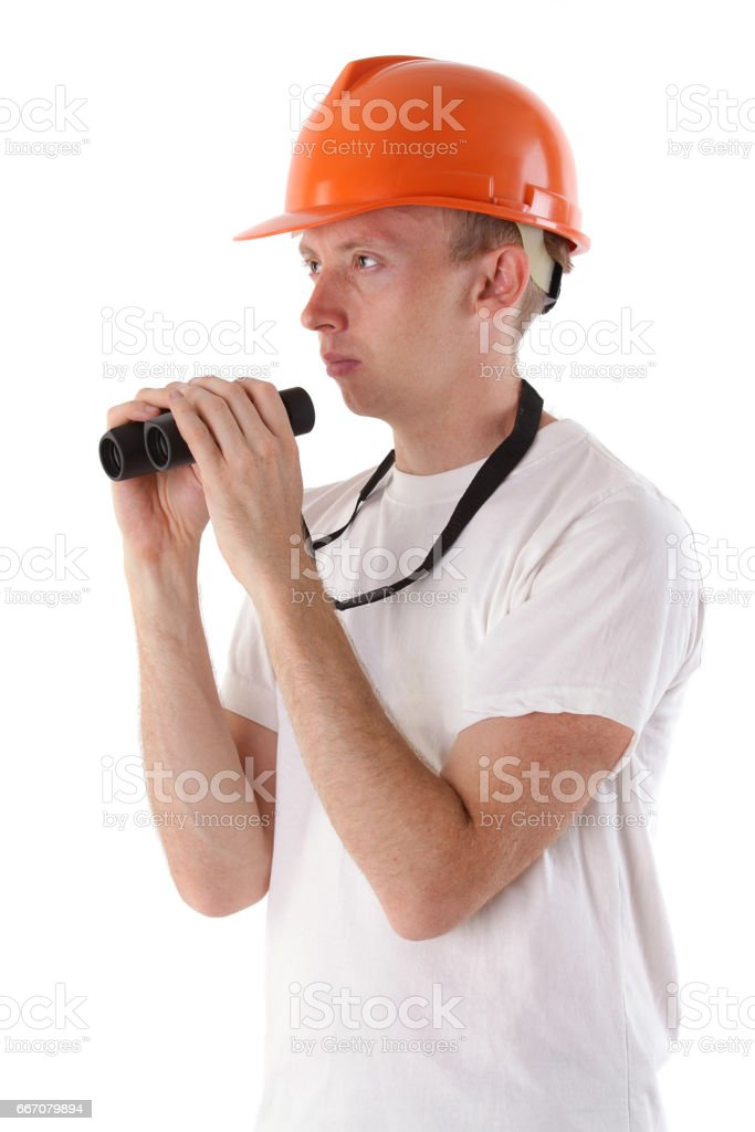 worker with binoculars isolated on white stock photo
