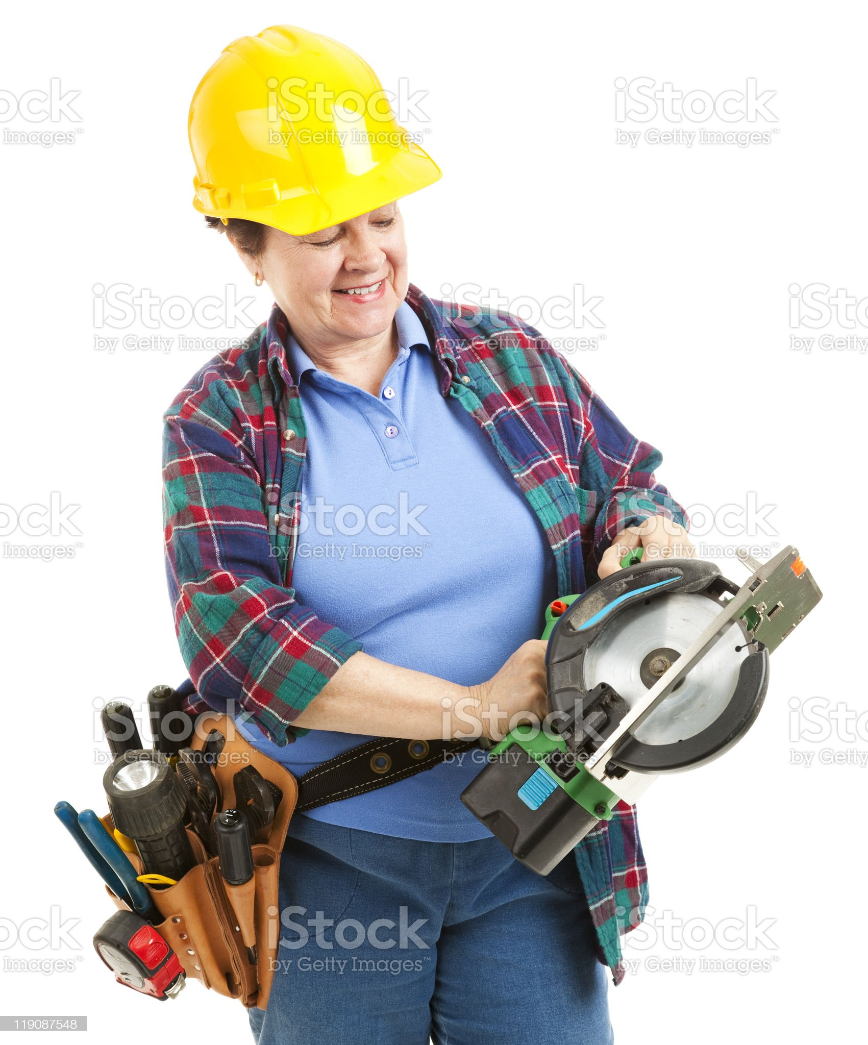 Worker with Circular Saw royalty-free stock photo