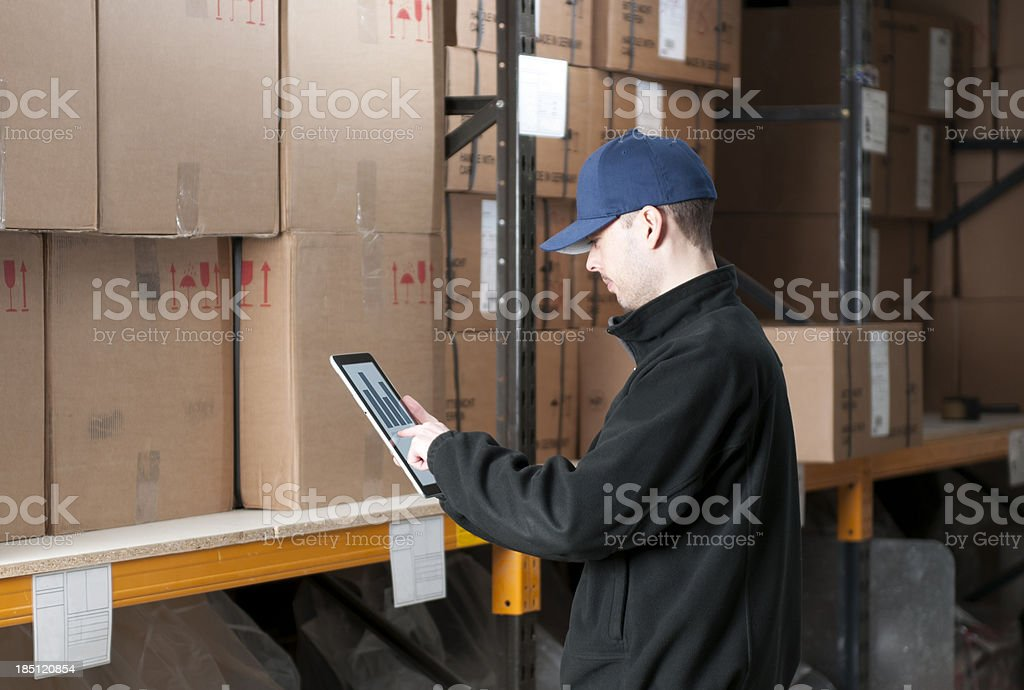 Worker with digital tablet in warehouse royalty-free stock photo
