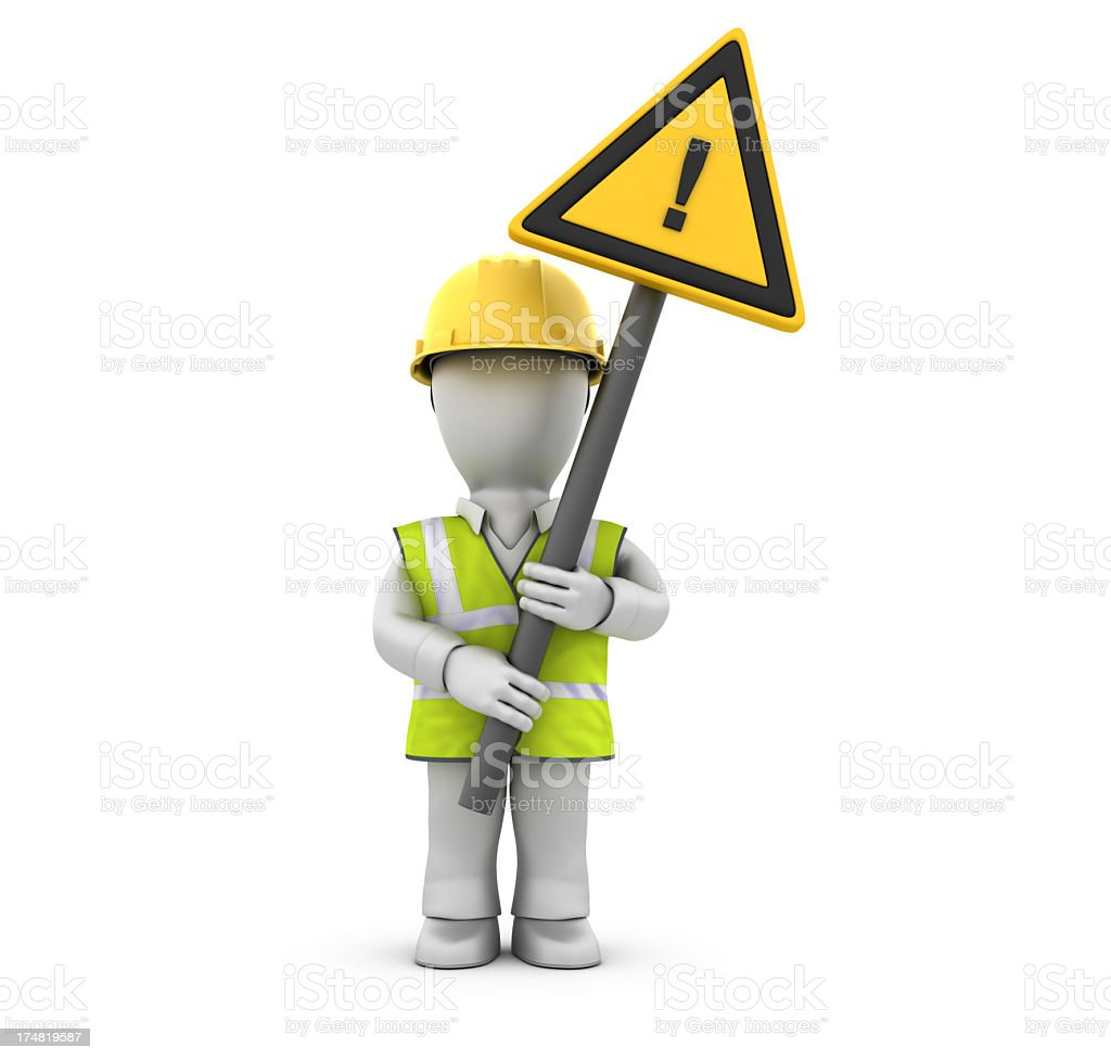 Worker with Exclamation Point Sign royalty-free stock photo