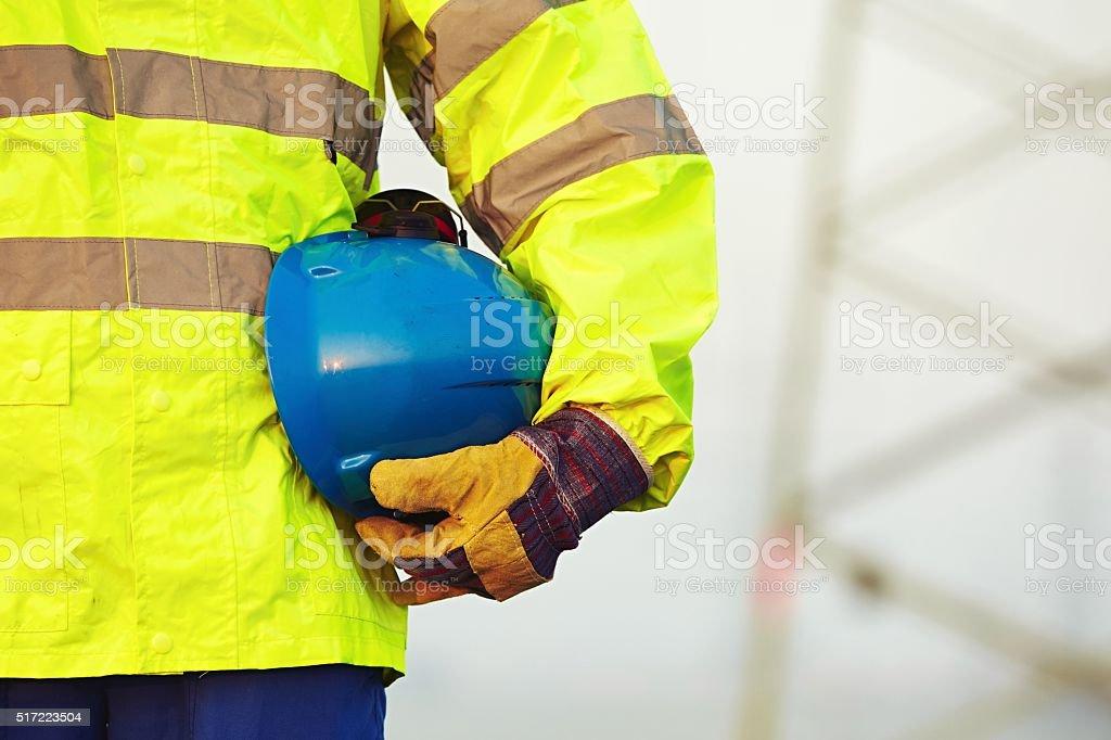 Worker with helmet stock photo