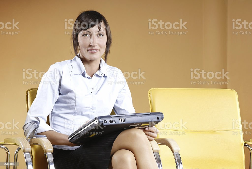 Worker with laptop royalty-free stock photo